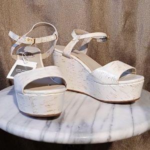 white Zara Women Cork Wedge Sandal, 7.5m Euro 38